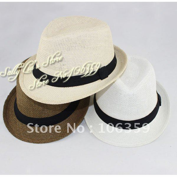 8acb7b376d6 Free Shipping Solid Color Baby Straw Hat Children s Fedora Hat Boys Summer  Sun Cap Kids Top
