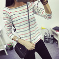 outside the Korean women wear ladies Slim small shirt long T-shirt bottoming striped long sleeved T-shirt dress