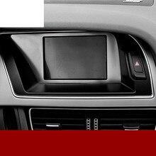 Из нержавеющей стали автомобиль центральной консоли навигации декоративная рамка Крышка отделка предупреждение световой панели интерьера 3D наклейки для Audi A4