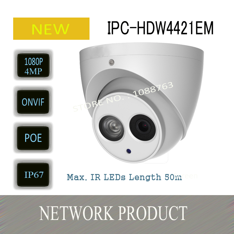 Free Shipping DAHUA IP Camera Security Camera 4MP HD WDR Network Small IR Dome Camera with POE without Logo IPC-HDW4421EM free shipping dahua cctv camera 4k 8mp wdr ir mini bullet network camera ip67 with poe without logo ipc hfw4831e se
