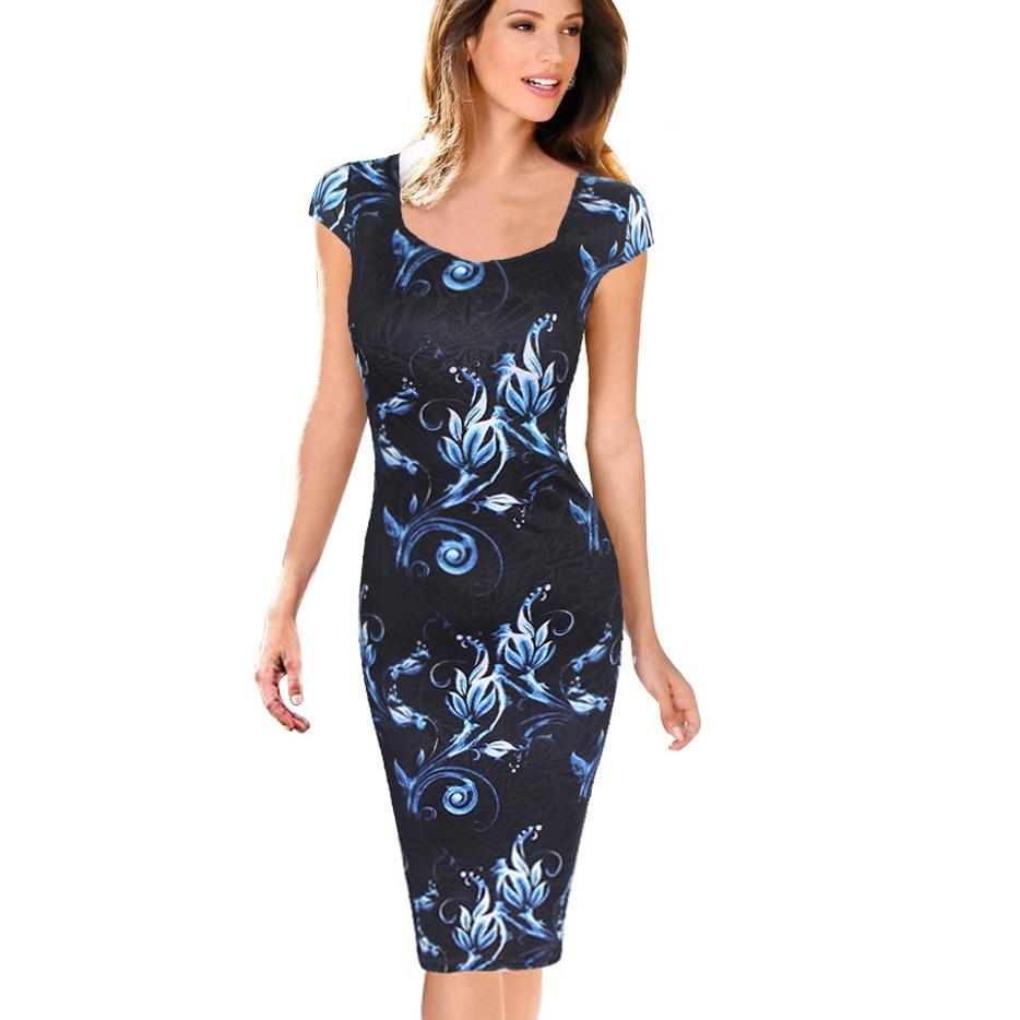 Fashion Free Shipping Designer Women Dress Elegant Floral Print Cap Sleeve Work Business Casual Party Vestidos 004 short dresses office wear