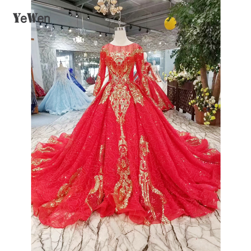 Glitter Wedding Gowns: 2019 Red Formal Gorgeous Wedding Gowns Gold Glitter