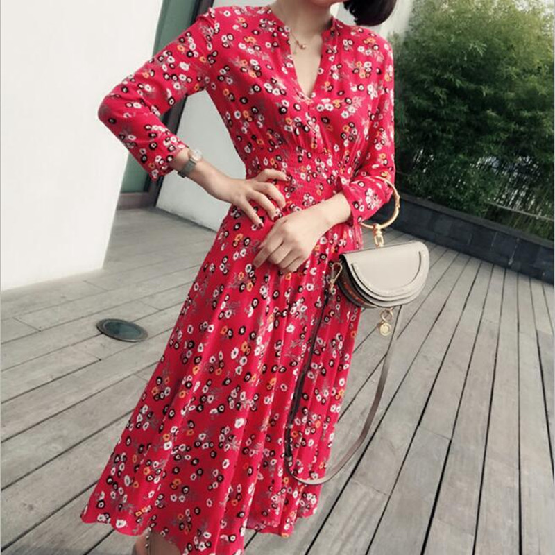 Cou Été V Élégant Manches Printemps Femmes Rouge Longue Profonde Floral Robe Poignet Vintage qxaCnpRAw