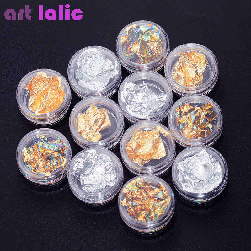 12 Pots Gold Silver Bronze Glitter Nail Foil Sticker Gel Adhesive Glue Transfer Paillette Flake Full Cover Laser Decal Decor