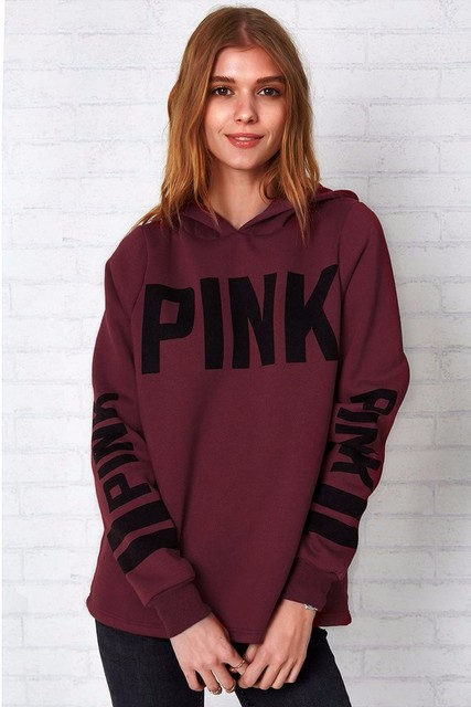 Love Pink Fashion Women Cute Long Sleeve Casual Sweatshirt Knitted VS Pink Sequins printing Pullovers Tops