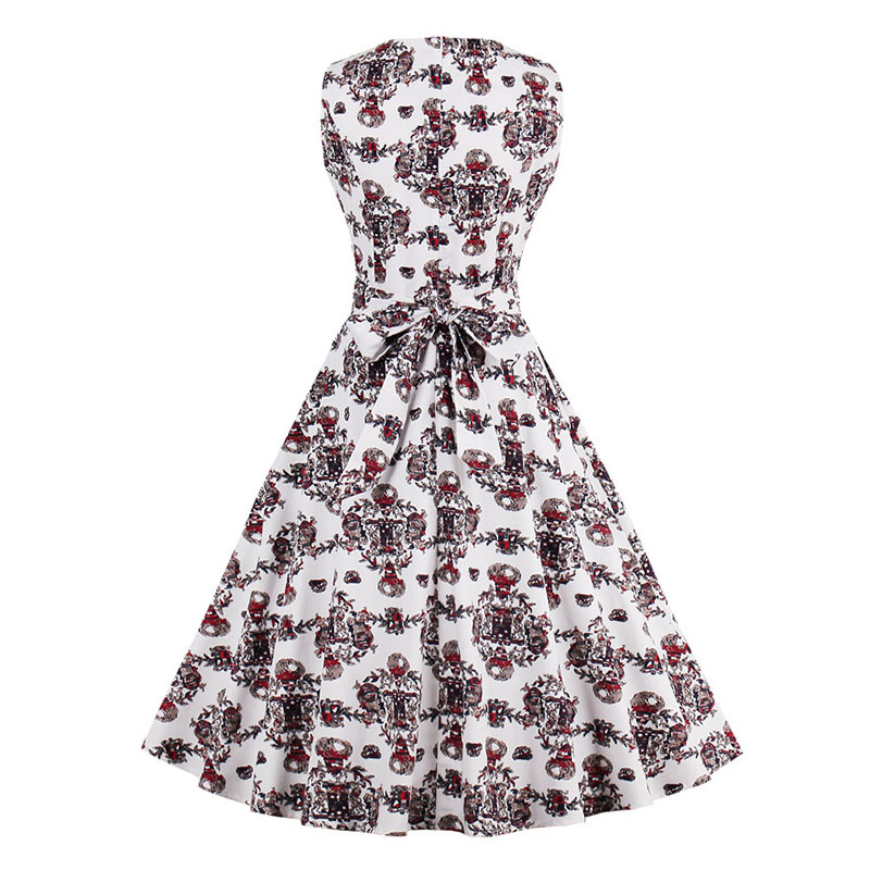 Kostlish 9 Style Print Summer Dress Women 2017 Sleeveless Swing 1950s Hepburn Vintage Tunic Dress Elegant Party Dresses Sundress (21)