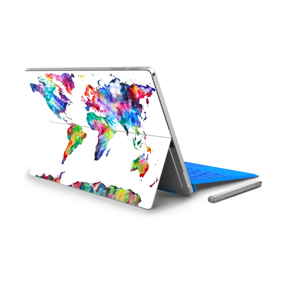 GOOYIYO - 2018 For Micro Surface Pro 4 5 Vinyl Back Full Decal Tablet Netbook Sticker World Continent Map Skin Logo Cut Out