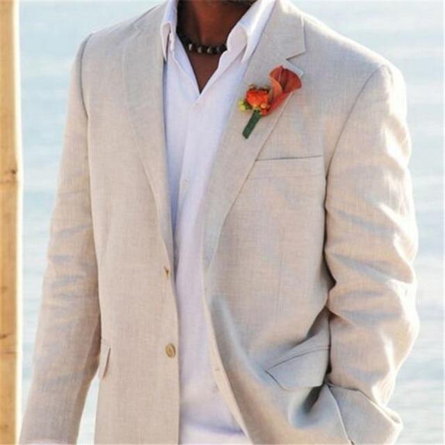 Light Beige Linen Suits Beach Wedding Tuxedos For Men Custom Made ...