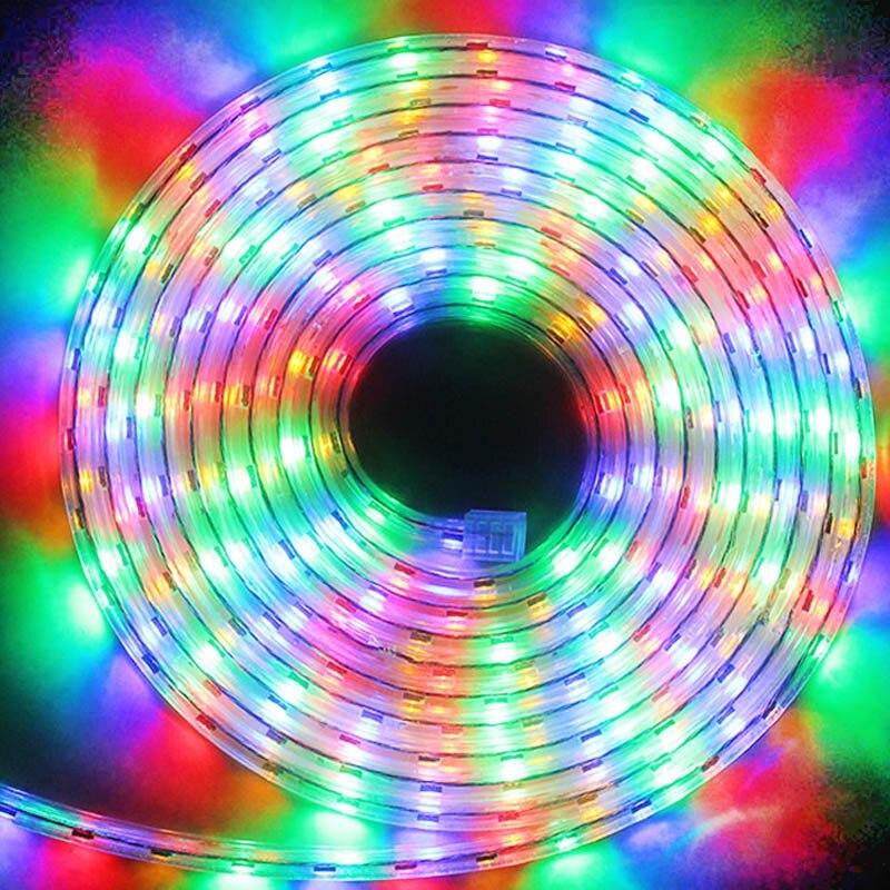 LAIMAIK Luz de Tira Tira CONDUZIDA 5050 SMD À Prova D' Água IP67 60 da Tensão AC 220 V LEVOU Tiras Flexíveis 60leds/m 5050SMD Epistar CONDUZIU a Iluminação