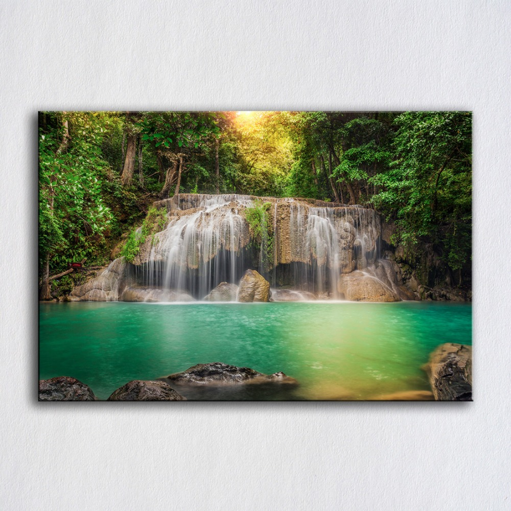 Landscapes Waterfall Forest Red SINGLE CANVAS WALL ART Picture Print VA