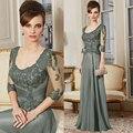 Chegada nova Custom Made A linha 3/4 manga Lace vestido longo mãe da noiva vestido longo HYD812