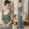 New Arrival Custom Made A Line 3/4 Sleeve Lace Beads Floor Length Gown Mother Of The Bride Dresses Long Evening Dress HYD812