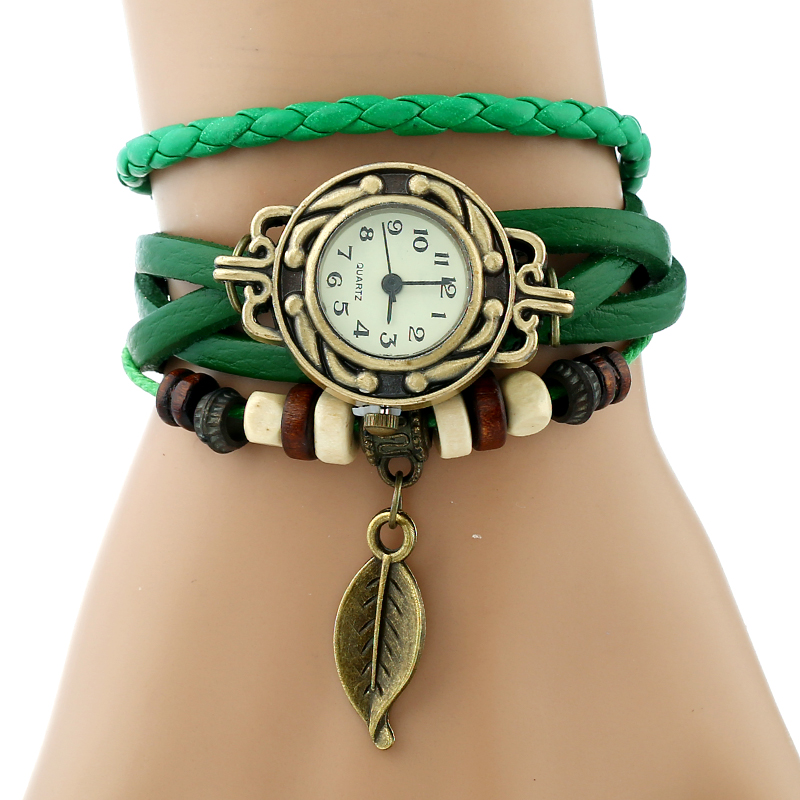 Classic Genuine Leather Bracelet Women Vintage Wrist Watch