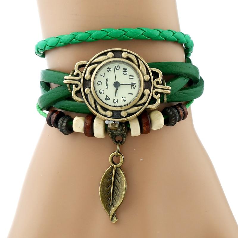 Classic Genuine Leather Bracelet Women Vintage Wrist Watch