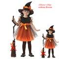 Festival Coaplay 1-16 Anos Crianças Traje Da Bruxa do Dia Das Bruxas para Crianças Enfant Set Vestido para As Meninas Chapéu para o Bebê menina Mascarada