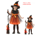 Festival Coaplay 1-16 Years Children Halloween Witch Costume for Kids Enfant Set Dress for Girls Hat for Baby Girl Masquerade