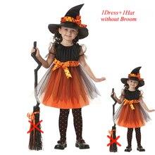 Festival Coaplay 1-16 Ans Enfants Halloween Costume de Sorcière pour Enfants Enfant Ensemble Robe pour les Filles Chapeau pour Bébé fille Mascarade