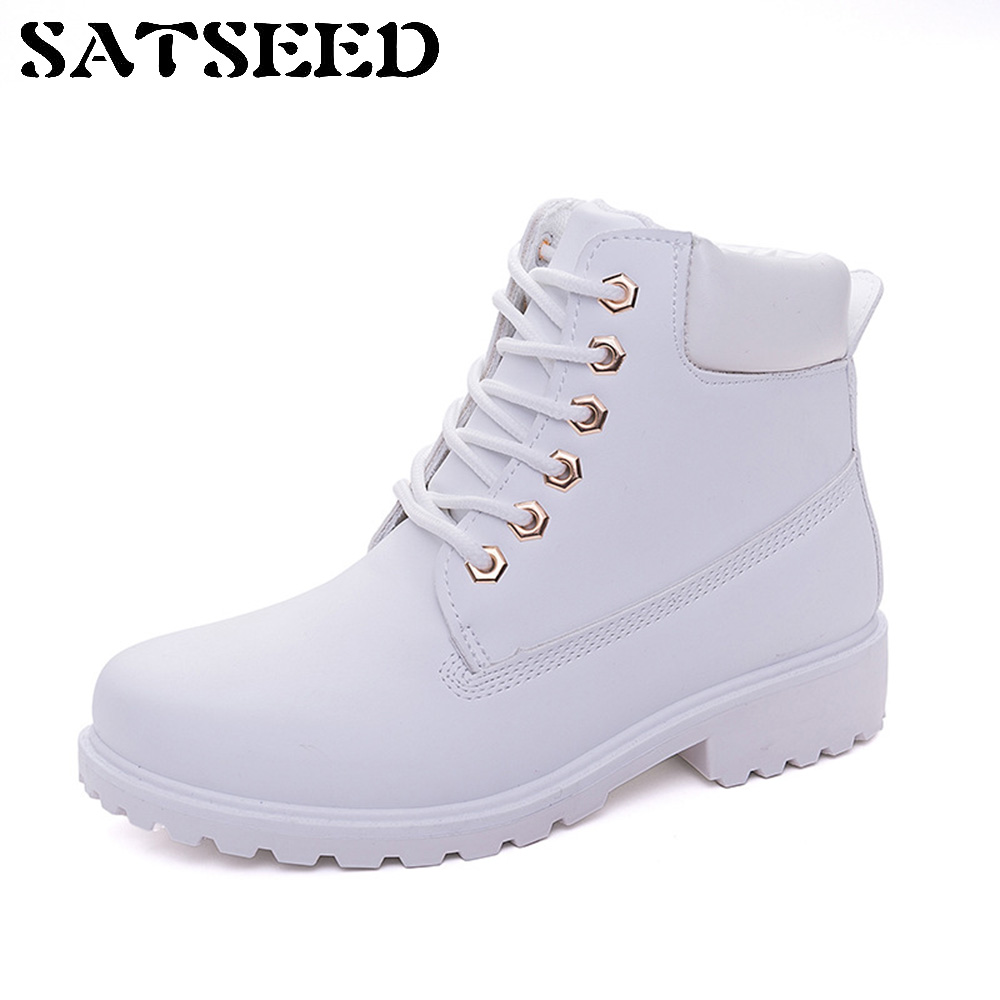 Fashion 2018 Autumn Leather Boots Winter Black Shoes Women Short Boots Casual Martin Lady Boot Outdoor Fashion Lace-up Flat New 2016 new autumn winter man casual shoes sport male leisure chaussure laced up basket shoes for adults black