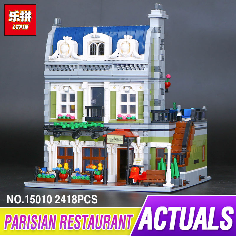 DHL Lepin 15010 2418 pcs Expert City Street Parisian Restaurant Model Building Kits Blocks Toy Compatible 10243 for children dhl lepin 15012 2518 pcs city expert ferris wheel model building kits blocks bricks toys compatible with legoingly 10247