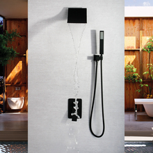SKOWLL Wall Mounted Black Concealed Shower Faucet Set Waterfall Shower Mixer Tap SK-7635 недорого