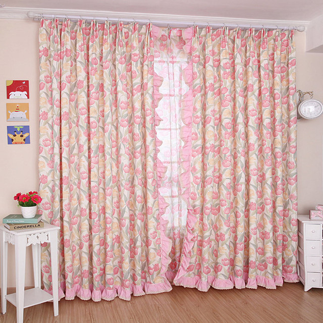 Yilianyoumeng High Grade Cotton Curtain Korean Garden Living Room / Bedroom  Window Curtains Fabric Screens