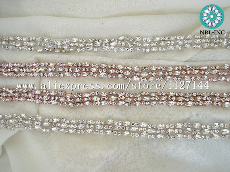 f013a71978 US $86.5 |Aliexpress.com : Buy (10 YARDS)Wholesale handmade beaded sewing  silver rhinestone applique trim iron on for wedding dress sash WDD0508 from  ...