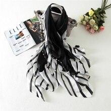 [Видимые оси] весенний Модный женский черно-белый полосатый Шелковый шарф роскошный бренд мягкие яркие шелковые шарфы
