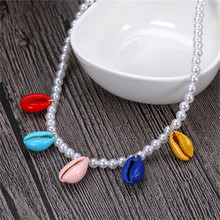 Pearl Shell Beaded Statement Necklace Women Simulated Chain Choker Fashion Necklaces for Jewlery