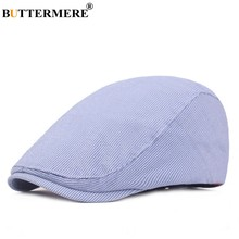 BUTTERMERE Blue Beret Women Striped Cotton Flat Caps For Men Vintage Brand British Style Drive Spring Summer Duckbill Ivy Hat(China)