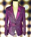 Плюс Размер М-4XL Зеленый Фиолетовый Сияющий Blazer Мужской Певица GD Носить наряд Этап Пиджаки Бар Партия Костюм Куртка