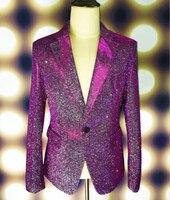 Plus Size M-4XL Green Purple Shining Blazer Male Singer GD outfit Wear Stage Blazers Bar Party Costume Jacket