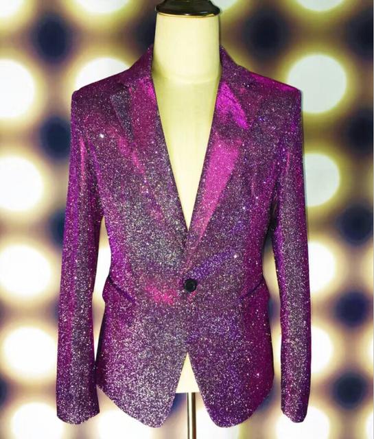 Más el Tamaño M-4XL Verde Púrpura Chaqueta Brillante Cantante Masculino GD Chaqueta Blazers traje de Desgaste de la Etapa Bar Fiesta de Disfraces