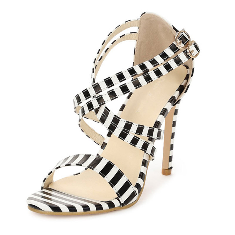 Europe and the new fashion fish mouth thin heel high heel personality cross strap clear heels sandals in High Heels from Shoes