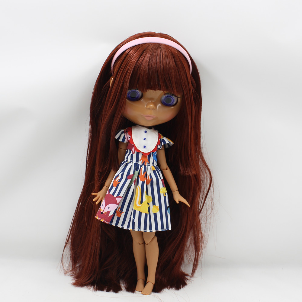 ICY Nude Blyth  doll  No.300BL0362 Red Brown hair with bangs JOINT body Chocolate skin 1/6 BJD-in Dolls from Toys & Hobbies    2
