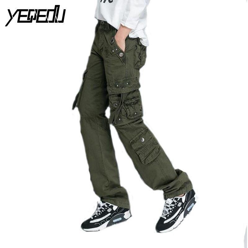 púrpura De rojo Casual 0913 Pantalones verde Negro Mujeres Hop púrpura verde Streetwear Rectos Militar Para rojo Las Multi negro Hip bolsillos Ewq4PRqx