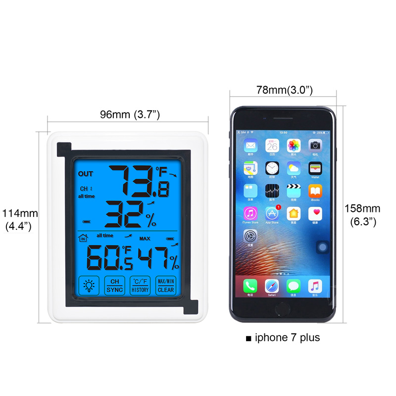 Touch screen Weather Station Outdoor Forecast Sensor Backlight Thermometer Hygrometer Wireless weather station in Temperature Instruments from Tools