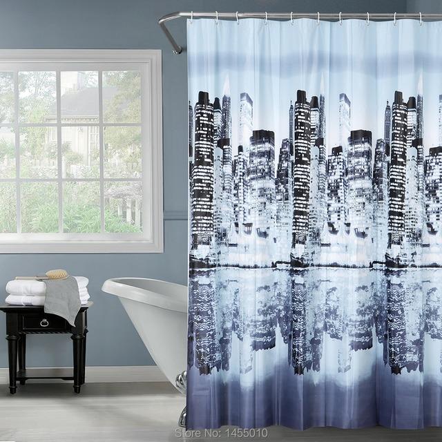 PEAV Black City Life Building Waterproof Shower Curtain City Reflection  Thicken Bathroom Shower Curtain 180x180cm
