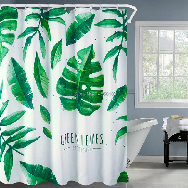 Fabric Polyester Green Leaves Waterproof Shower Curtains Thicken ...