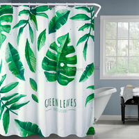 Happy Tree Polyester Green Leaves Waterproof Shower Curtain Thicken Fabric Bathroom Curtain Green Life Bath Curtain 180x180cm