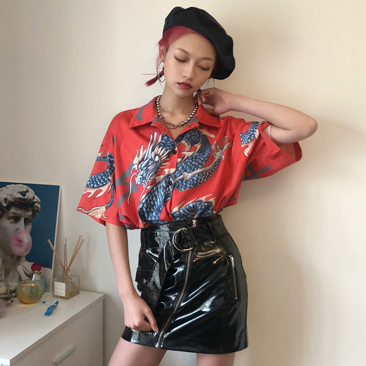 Flight Tracker New Womens Clothing Ulzzang Korean Hipster Harajuku Animal Dragon Chinese Print Turn-down Collar Loose Fashion Casual Shirts Blouses & Shirts
