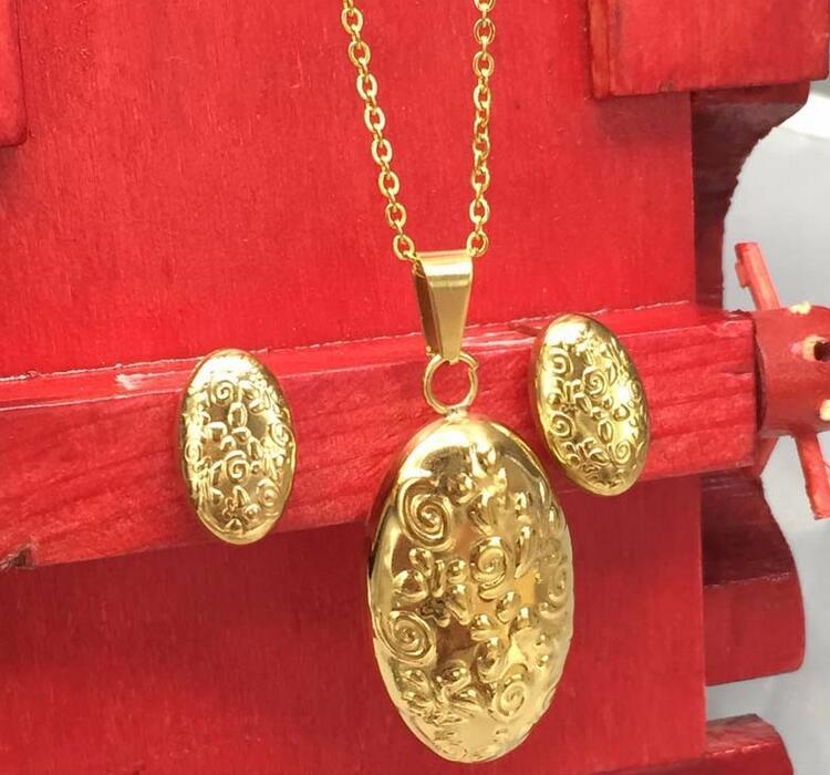 Peru Lima Wholesale Inox Oval shape Hollow Jewelry Set Gold Tone Jewelry 316l Stainless Steel Women Fashion Jewelry Sets