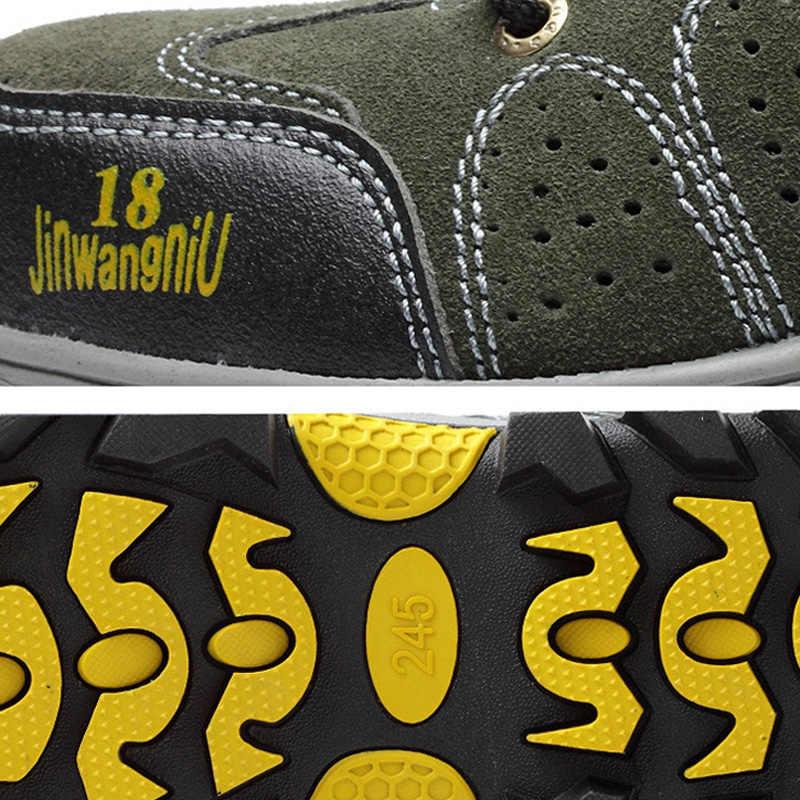 Ademende Veiligheidsschoenen Mannen Stalen Neus Schoenen Mannelijke Laarzen Anti-slip Werkschoenen Anti-smashing Outdoor Comfort Mannen laarzen Plue Size 45
