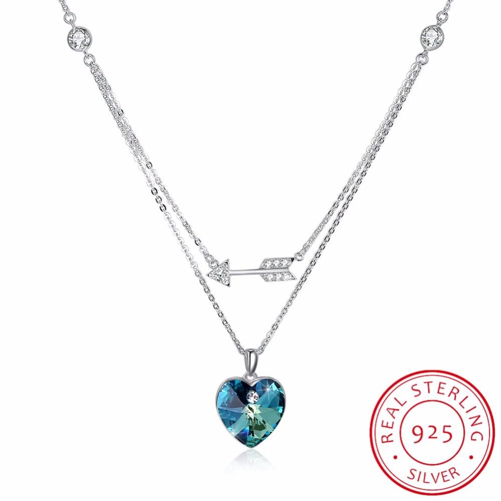 LEKANI cristaux de SWAROVSKI coeur pendentifs colliers réel 925 argent Double chaîne Collares pour les femmes de mariage bijoux fins