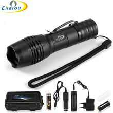 цена на new led Tactical Flashlight 6000 Lumens T6 Super Bright LED Zoom Torch with Clip Camping light 18650 AAA battery