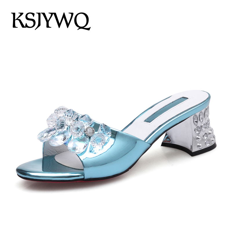 KSJYWQ Diamond Mules for Women 6 cm Chunky heels Sexy open-toe Summer Style Slippers Casual Sandals Woman Box Packing Q908-1  ksjywq genuine leather flowers women sandals sexy exposed toe white shoes summer style clip toe shoes woman box packing a2571