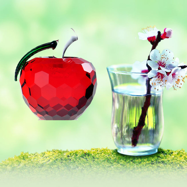 16 red cut crystal apple glass paperweight fruit crafts gifts artcollection unique christmas gifts
