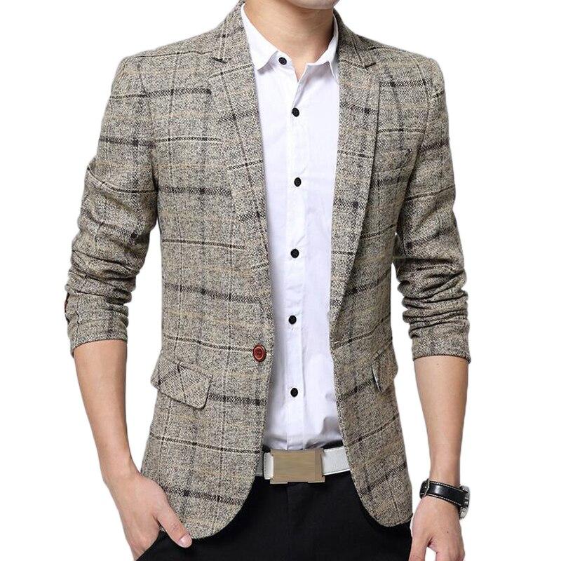 Men slim fit brazer brand plaid suit jackets costume homme mens lattice Formal brazers fashion design casual dress suit coats