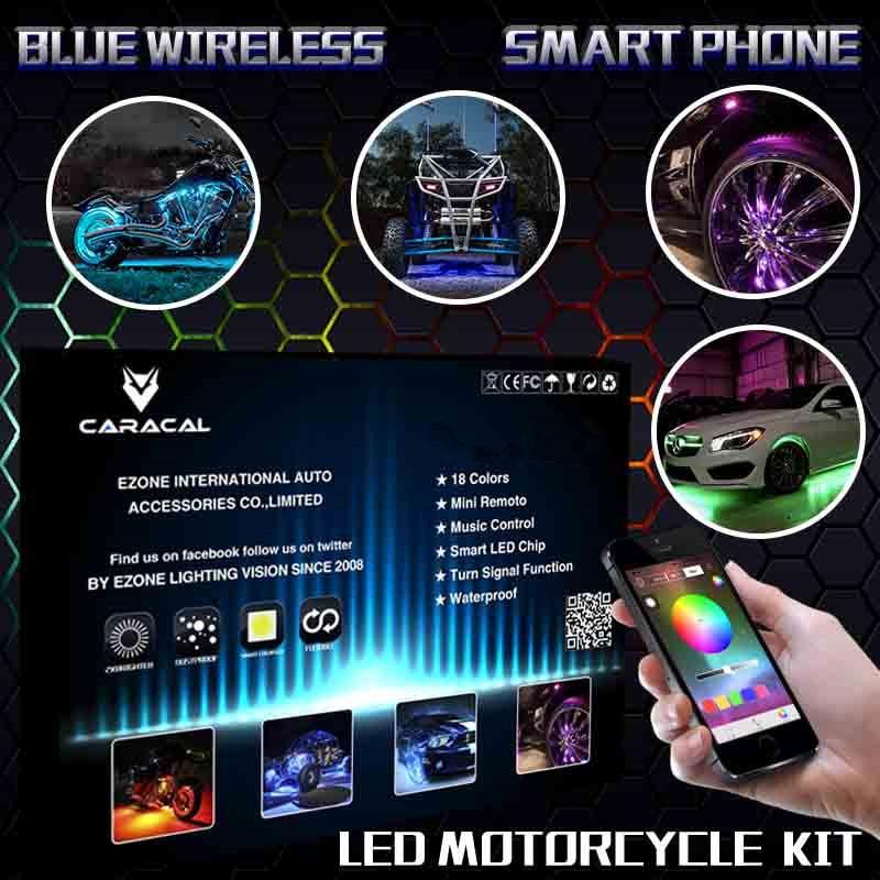 CARACAL14pcs мигают музыку мотоцикл Bluetooth набор прокладки СИД Неоновое свечение корпуса Bluetooth приложения управления