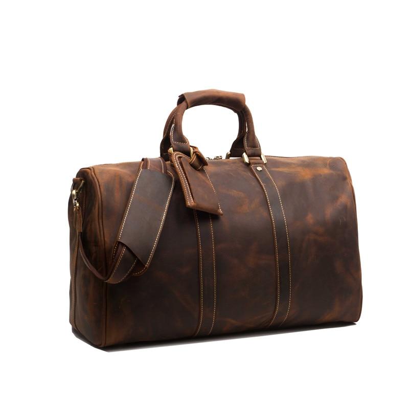 Aliexpress.com : Buy Baigio Leather Men Travel Bags Weekend Duffle ...