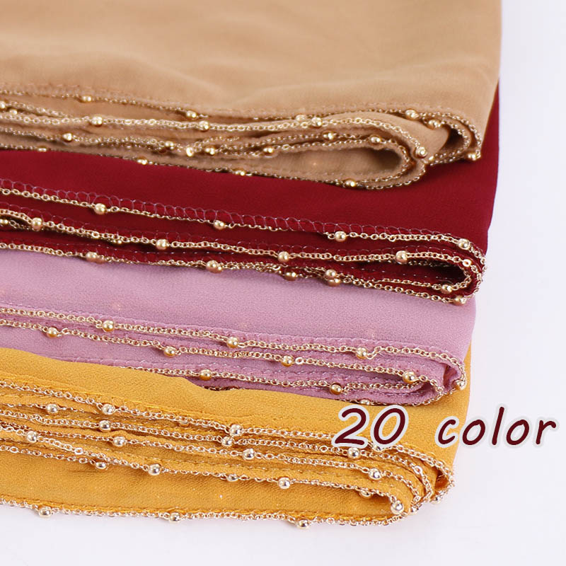 New Plain Bubble Chiffon Scarf Long Shawl Gold Plate Chain Hijab Wrap Muslim Women Head Scarf Headband Islamic Scarves 20pcs/lot